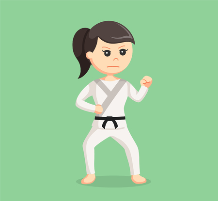woman pose: karate woman combat pose