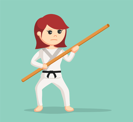 martial art: karate woman holding bo staff