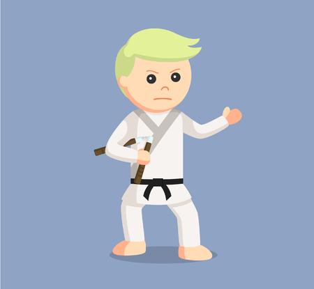 karate man holding nunchaku