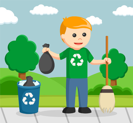 Man environmental activist cleaning park