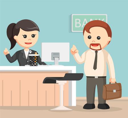 Female bank teller serve business man Vetores