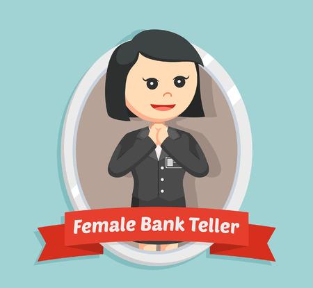 Female bank teller in emblem Illustration