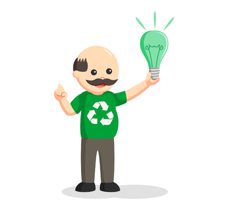Man environmental activist with green bulb Illustration