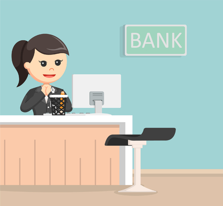 Female bank teller illustration design