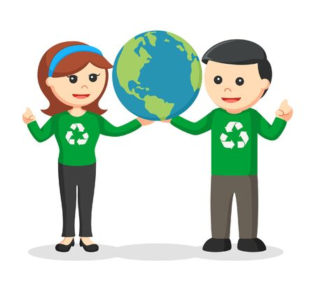 Couple environmental activist holding earth