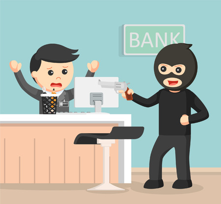 office theft: Robber robbing bank color