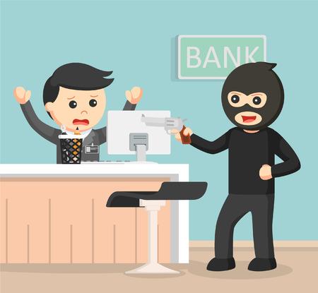 robbing: Robber robbing bank color