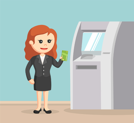 Business woman using atm machine Illustration