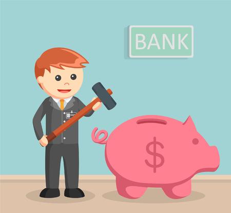 Bank teller want to break piggy bank Vetores
