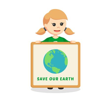 Woman environmental activist with save earth board Ilustração