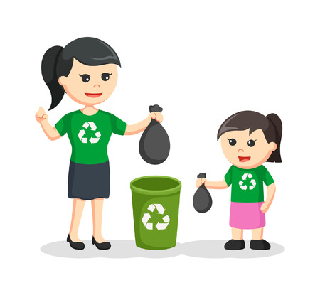 Mother teaching her daughter to put litter to bin