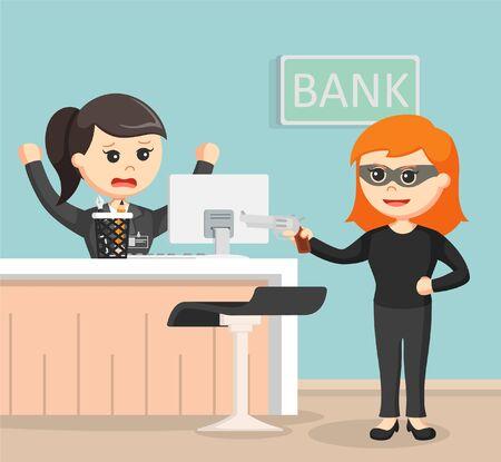 Female robber robbing bank
