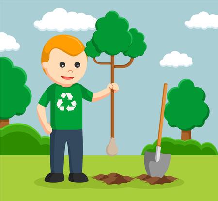 planting tree: Man environmental activist planting tree