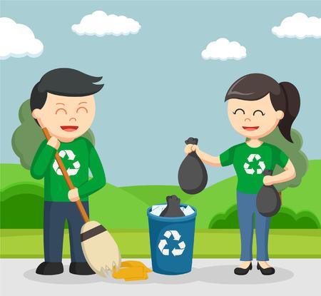militant écologiste Couple parc de nettoyage
