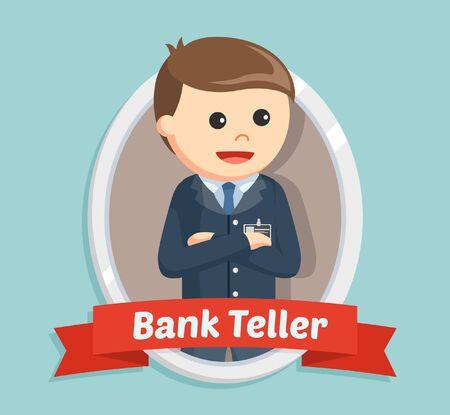Bank teller in emblem