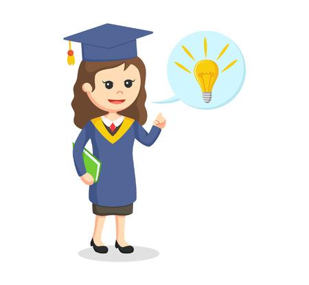 graduate female student with idea callout Illustration