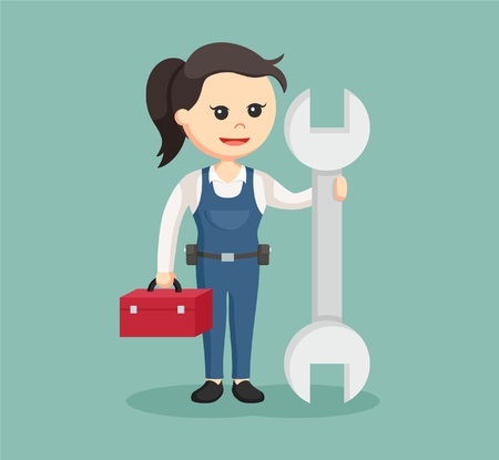 maintenance work: female mechanic with big wrench and tool box