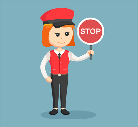 female valet with stop sign