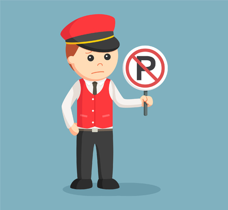 male valet with forbidden parking sign