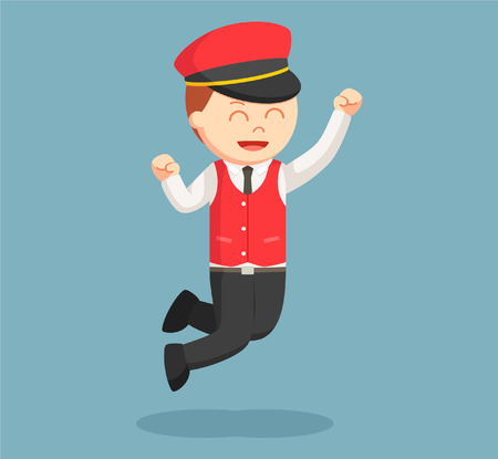 male valet jumping excitedly Illustration