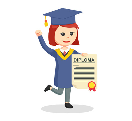 graduate female student showing her diploma