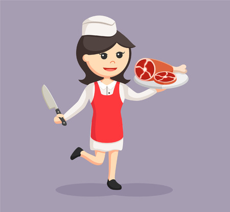 Butcher woman with meat Illustration