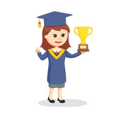 ceremony: Graduate female student with trophy Illustration
