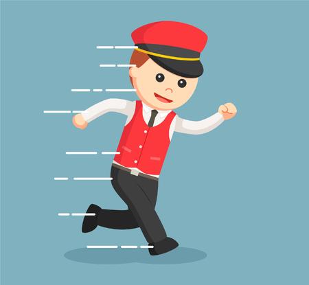 male valet running illustration design
