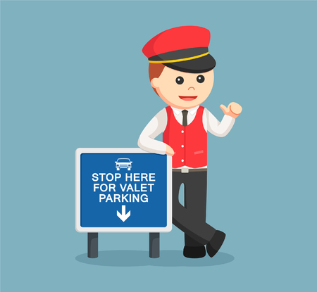 male valet standing beside sign Illustration