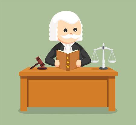 Gruby sędzia czyta książkę prawa