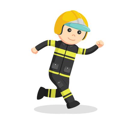 working people: Fireman running illustration design