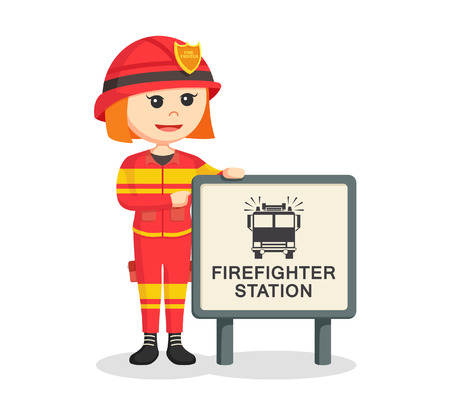 fighters: fire woman with firefighter station sign