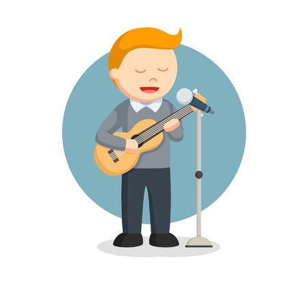 Male solo singer with guitar. Illustration