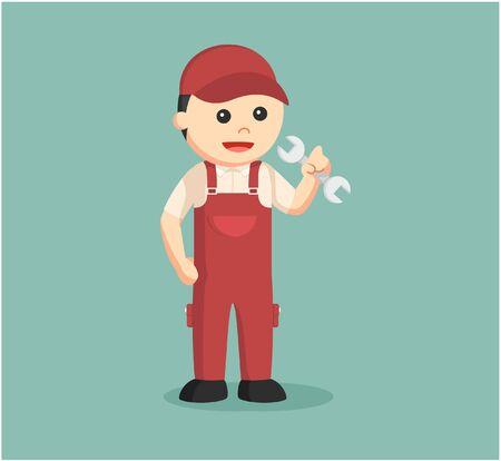 maintenance work: plumber color illustration design
