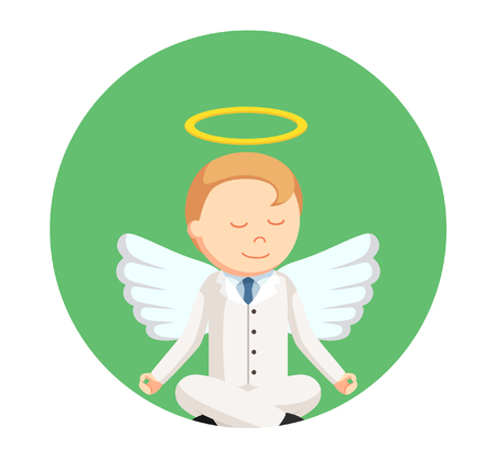 a righteous person: businessman angel meditating in circle background