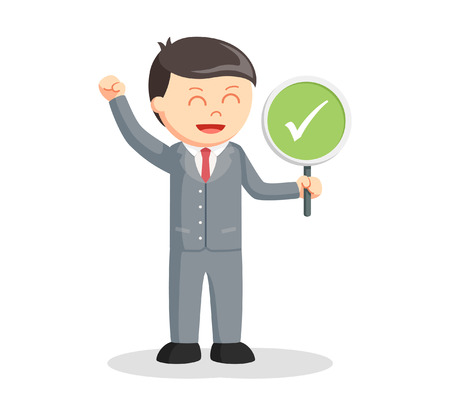 business confidence: male lawyer with checklist sign