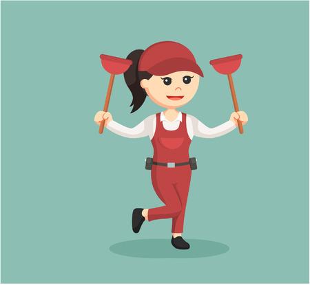 handywoman: female plumber holding toilet plunger