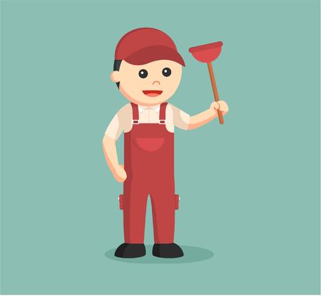 siphon: plumber holding toilet plunger Illustration