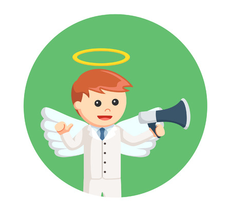 businessman angel with megaphone in circle background