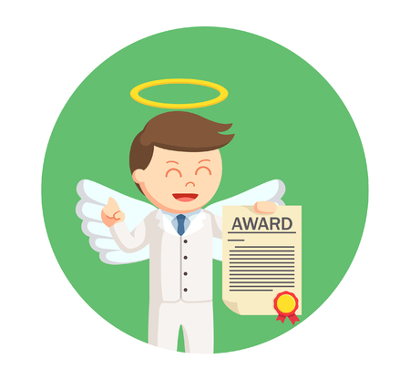 businessman angel holding certificate in circle background