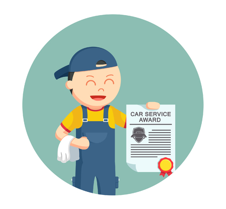mechanic with certificate car award in circle background