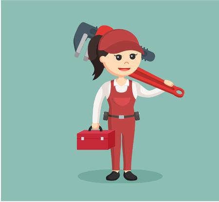 female plumber holding tool box and giant pipe wrench