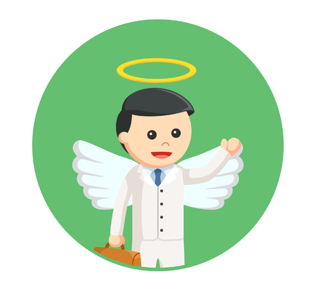 businessman angel in circle background