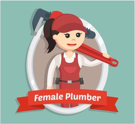 handywoman: female plumber in emblem Illustration