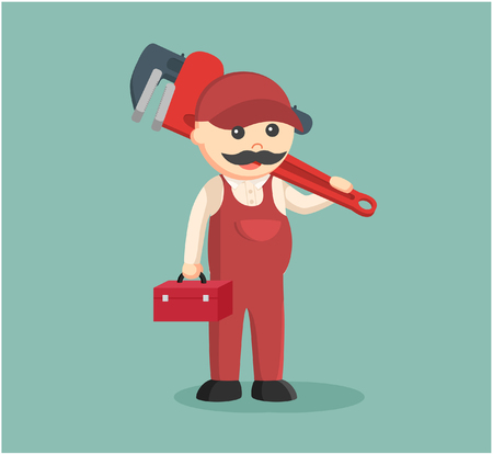 handy: fat plumber holding tool box and giant pipe wrench