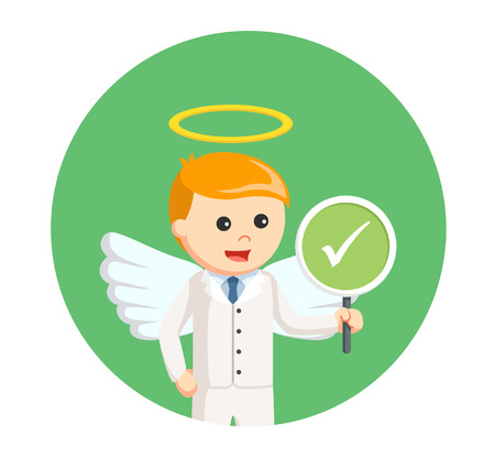 businessman angel with checklist sign in circle background Illustration