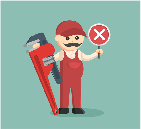 sullen: fat plumber holding false sign and giant pipe wrench
