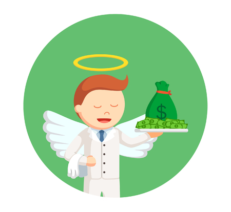 businessman angel with money in circle background