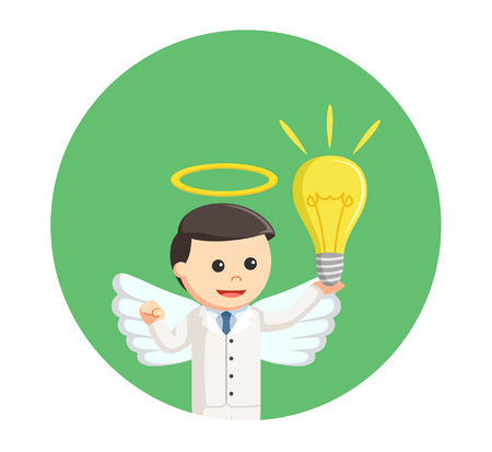 businessman angel with idea in circle background Illustration