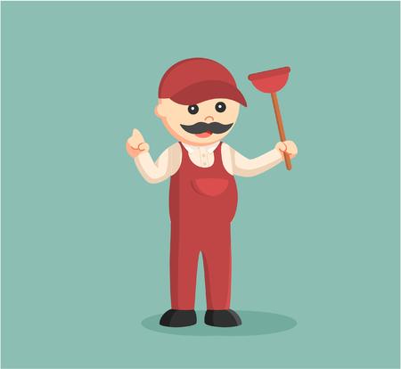 fat plumber holding toilet plunger Illustration